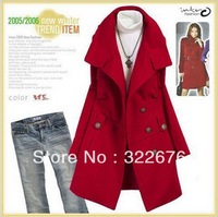 Free Shipping Women's Stand Collar Single Breasted Buttons Decorated Long Worsted Trench Coat Yellow/Red/Black JR00839 S M L