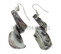 Free shipping!!!Lampwork Jewelry Earring,Punk Style, iron hook, Twist, handmade, gold sand and silver foil, 17x53x14mm