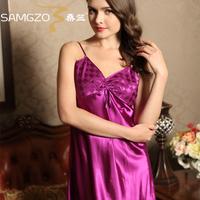 2014 Spaghetti strap nightgown sexy sleepwear female temptation fashion sleepwear faux silk romantic lounge