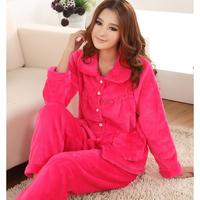 Hot sales Married sleepwear plus size sleepwear female autumn and winter thickening coral fleece sleepwear lounge set robe