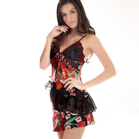 Rose lounge faux silk sleepwear new arrival women's sleepwear sexy spaghetti strap charming women's shorts set