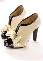 Free Shipping Renaissance V-Opening Bowknot Platforms/Pumps Beige U10081322