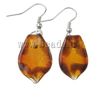 Free shipping!!!Lampwork Jewelry Earring,Statement jewellery 2013, iron hook, Leaf, handmade, silver foil, 42x13x4mm