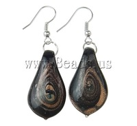 Free shipping!!!Lampwork Jewelry Earring,Costume jewelry, iron hook, Leaf, handmade, gold sand, 16x50x6mm, 10Pairs/Bag
