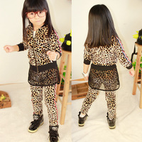 Pleuche fashion female child leopard print long-sleeve outerwear gauze culottes sports set parent-child