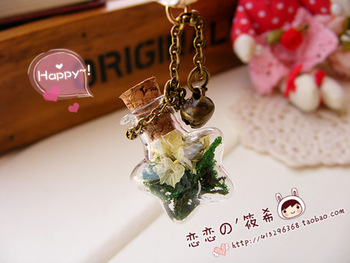 Zakka vintage wishing dried flowers glass bottle pendant dust plug fresh mobile phone pendant chain
