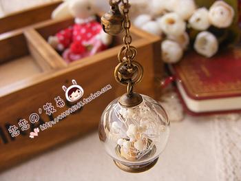 Zakka vintage flower mantianxing glass bottle crystal ball pendant dust plug fresh bell chain