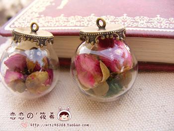 Zakka vintage flower rose glass bottle crystal ball pendant dust plug pendant chain