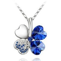 Woman's jewelry, 18K plated lucky clover pendant crystal necklace gift - B14