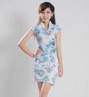 2013 summer V-neck print blue short-sleeve cheongsam dress
