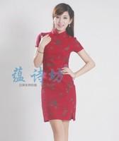 2013 summer fashion vintage print linen fluid short-sleeve cheongsam dress
