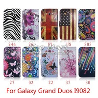 Meteor flag butterfly flower zebra wallet pu leather case for Samsung Galaxy Grand Duos i9080 i9082 card slot with flip cover