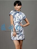 Elegant handmade button stand collar vintage blue and white porcelain print design short cheongsam dress tang suit