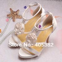 Custom Made 2012 Hot Sale Wedding Bridal Prom Sandals Flower 10CM Ivory  Dancing High Heels Women Pumps