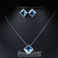 Set022 White Gold Plated Light Blue Rhombus Crystal Pendant Necklace and Earrings Set  FREE SHIPPING