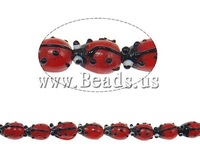Free shipping!!!Handmade Lampwork Beads,Designer Jewelry, Ladybug, handmade, red, 15x11x9mm, Hole:Approx 1.5mm, 100PCs/Bag
