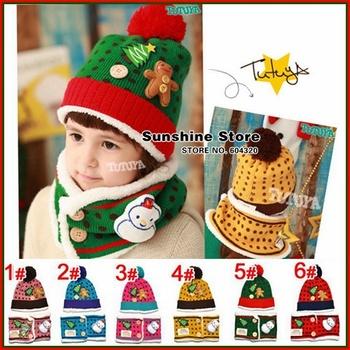 Sunshine store #2C2686  5 set/lot(6 colors)baby hat scarf set  Christmas tree winter Beanie children velvet polka dot cap CPAM