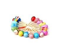 100pcs New lovely Wooden Maraca Rattles Kid Music Party Favor Child Baby Shaker Toy  50235-100