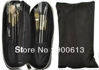 free shipping!! professional 12pcs black goat makeup brush set, cosmetic brush set with logo