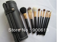 ree shipping! professional 9pcs makeup brush set PVC leather case with mirror, black cosmetic brush set