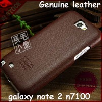 100% Retro Style Real Cowhide Flip Back Cover for Samsung Galaxy Note2 II N7100 Genuine Leather Case Lychee Pattern Skin