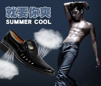 free shipping 2013 new summer breathable casual shoes for men high quality genuine leather cutout office dress shoes black 38-44