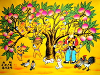 The old God of longevity. Peach-shaped Mantou. Tree. The children. Play. Wholesale sales of Chinese farmer painting.