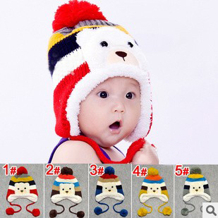 1piece Retail Free Shipping Lovely Colorful Stripe Pattern Cartoon Bear Design Thicken Crochet Kids Winter Caps Baby Warm Hats(China (Mainland))