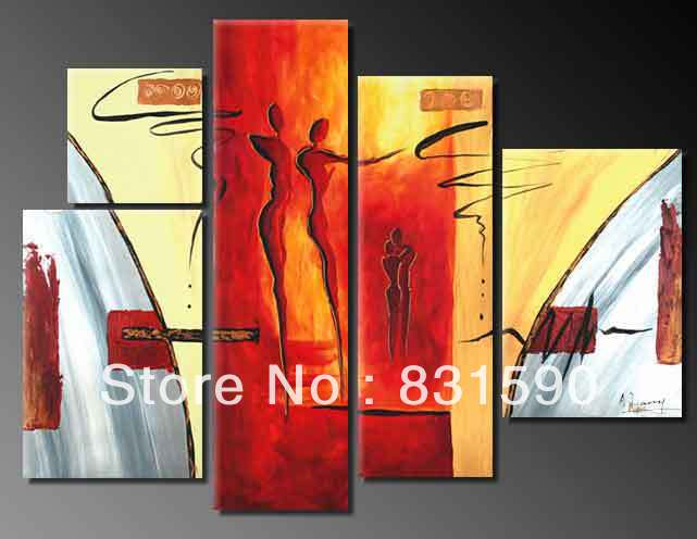 Free Shipping Beautiful 5 Panels Handmade PT250-L Wall Hanging Oils Decorative Paint Abstract Character Oil Painting(China (Mainland))