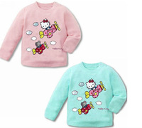 New Hot Kids Girls T Shirt Fit 1-4Yrs Children Cotton Long Sleeve Tee Shirt Cartoon Baby Clothing 8pcs/lot 2 Color Free Shipping