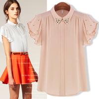Free shipping ! Summer women's 2013 fashion formal batwing sleeve diamond female chiffon shirt chiffon shirt top summer