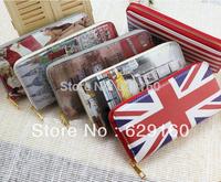 Computer intergards british style flag eiffel tower mailbox pattern women's zipper bag single pull wallet