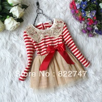 Free shipping Hot!!2013 fall winter girl's clothes girls chiffon dress,Sequins collar stripe lace dress,kids fashion dress