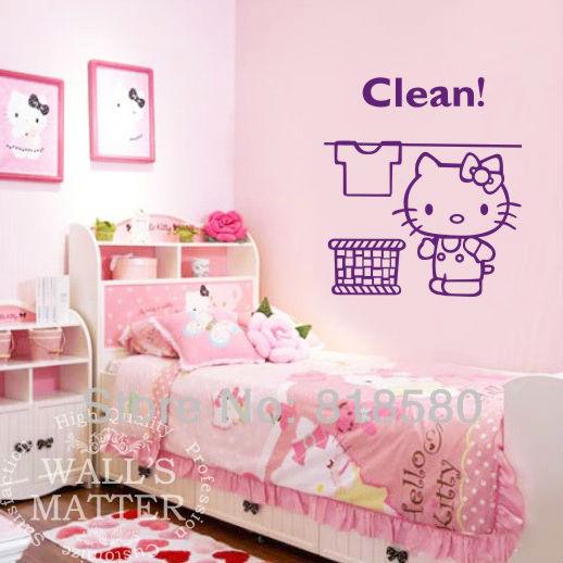 Hello Kitty Home Decor: Free Shipping Home Decor Lovely Hello Kitty Clean Vinyl