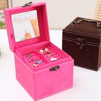 Fashion vintage accessories portable multifunctional storage box jewelry box tape mirror 33525