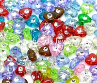 Free Shipping! 500 Mixed Foil Dot Heart Charm Acrylic Beads 8x8mm(B10538)