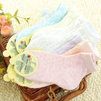 Colored cotton children socks mesh thin socks baby boneless seamless male female child 100% cotton breathable