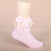Cotton 100% laciness cotton child socks female child socks princess socks bow laciness socks