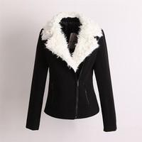 Free Shipping 2013 women's large lapel woolen berber fleece fashion all-match fashion design short outerwear