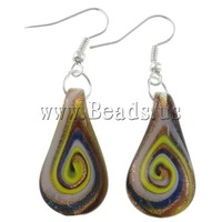 Free shipping!!!Lampwork Jewelry Earring,Cheap Jewelry Wholesale, iron hook, Teardrop, silver color plated, gold sand