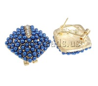 Free shipping!!!Zinc Alloy Stud Earring,2013 new fashion, with Glass Pearl, brass post, Rhombus, gold color plated
