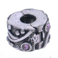 Free shipping!!!Zinc Alloy European Clip,Lucky Jewelry, antique silver color plated, with rhinestone, nickel
