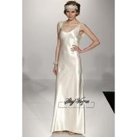 13W014 V-Neck A-Line Satin Brush Train Gorgeous Luxury Unique Brilliant Bridal Wedding Dress Free Shipping