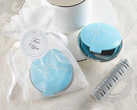 """""""Something Blue"""" Mirror Compact in Elegant Organza Pouch 20PCS/LOT Free shipping+wedding bridal shower favor gift"""