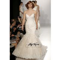 13W015 V-Neck Tulle Mermaid  Brush Train Gorgeous Luxury Unique Brilliant Bridal Wedding Dress Free Shipping