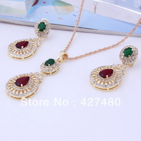 New arrival hot selling gold plated costume jewelry sets women wedding zircon vintage jewelry sets