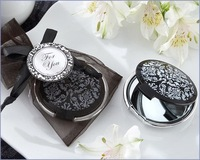 Damask Elegant Black & White Mirror Compact Favors 20PCS/LOT Free shipping+wedding bridal shower favor gift