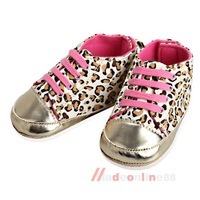 Adorable Toddler Baby Girl Shoes Cack Leopard Princess Walking Sneaker 13cm M3AO