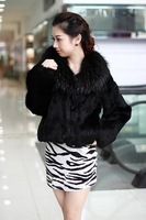 2013 New Arrival Women's Free Shipping Winter Warm Real Fox Stylish Real Rabbits Fur Long Sleeve Coat Black Sent from Russia