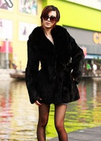 2013 Women's Winter Warm Real Fox Hair Noble Fox Fur Collar Long Coat grey/Black/Green Sent from Russia